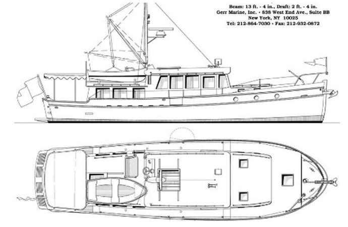 Line Drawing 2001 COVEY ISLAND BOAT WORKS  Trawler 2628033