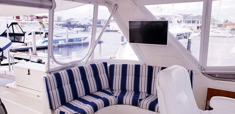 Fly Bridge Port Side TV & Settee 2003 MARLOW  Motor Yacht 2625851