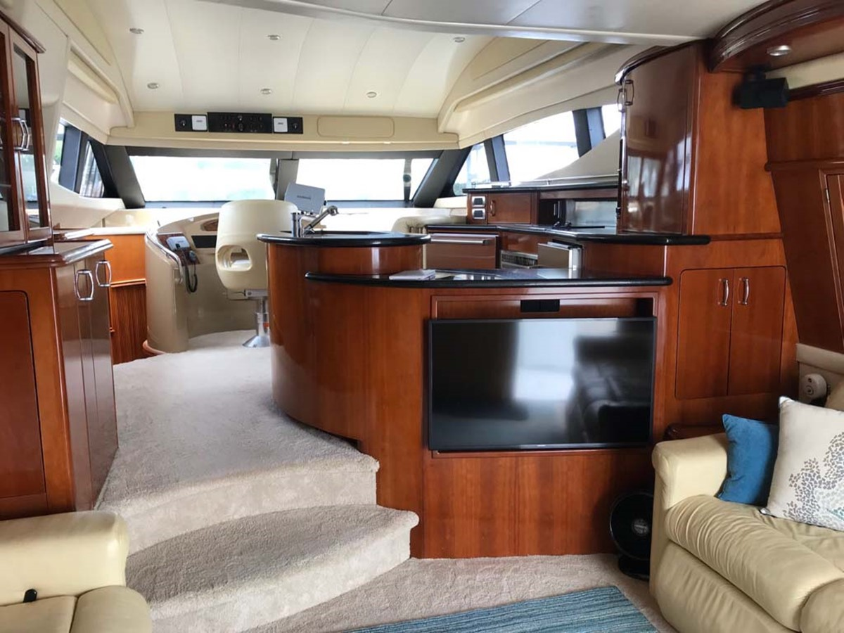 Lower Helm, Galley and Salon 2004 MARQUIS Flybridge Motor Yacht Motor Yacht 2673371