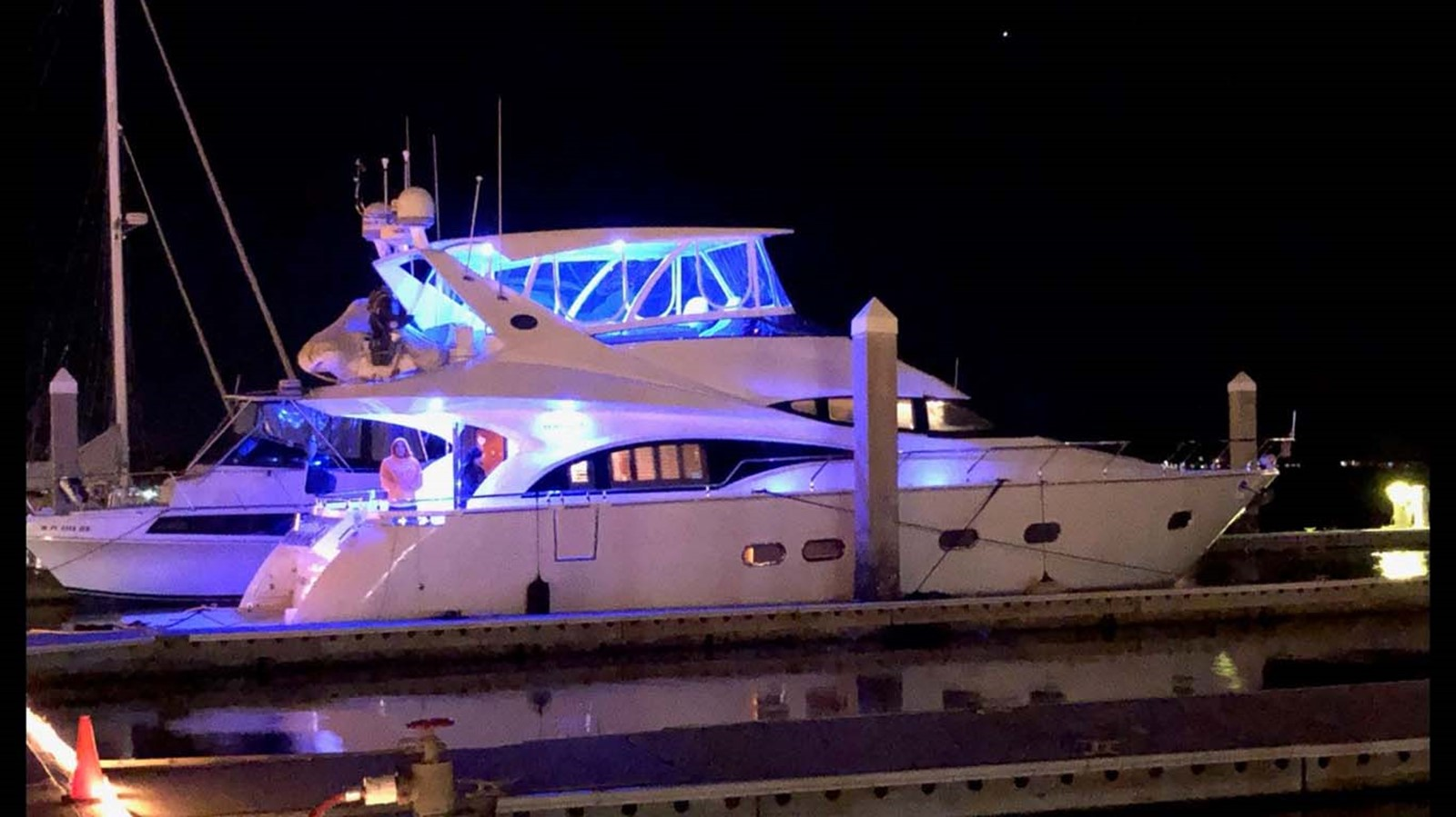 Starboard View at Night 2004 MARQUIS Flybridge Motor Yacht Motor Yacht 2673397