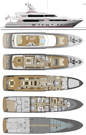 147' Sunrise 2014/2019 ATOM Layout  2014 SUNRISE Tri Deck Motor Yacht  Motor Yacht 2694952