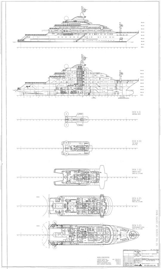 General Arrangement Plan 2003 LURSSEN Twin Screw Displacement Yacht Motor Yacht 2683464