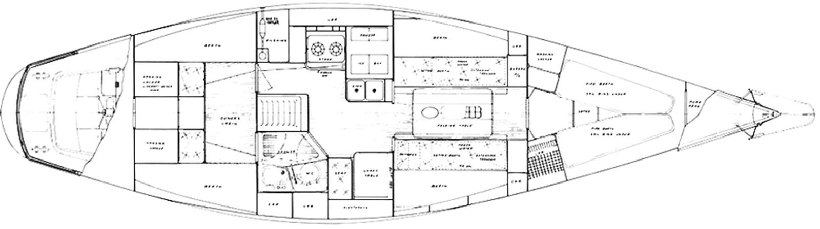 nautor-swan-44-layout-1 1973 NAUTOR'S SWAN Nautor Swan 44 Cruising Sailboat 2709922