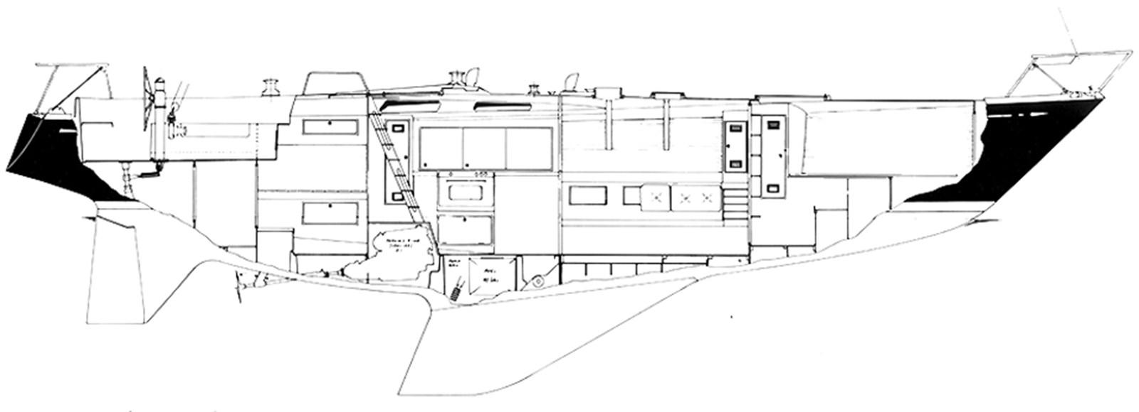 nautor-swan-44-layout-2 1973 NAUTOR'S SWAN Nautor Swan 44 Cruising Sailboat 2709923