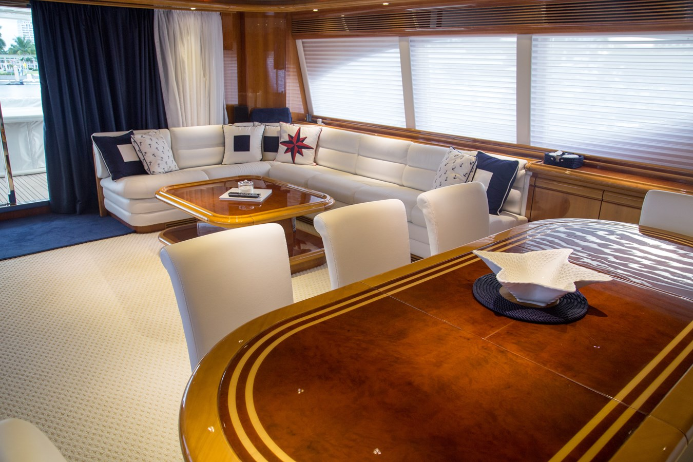 Salon with Dining Table 2003 FERRETTI YACHTS Custom Flybridge Motor Yacht 2710294