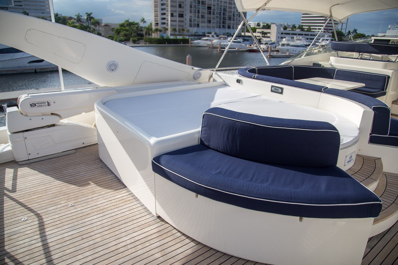 Sunpad with Jacuzzi Tub and Seating  2003 FERRETTI YACHTS Custom Flybridge Motor Yacht 2710345