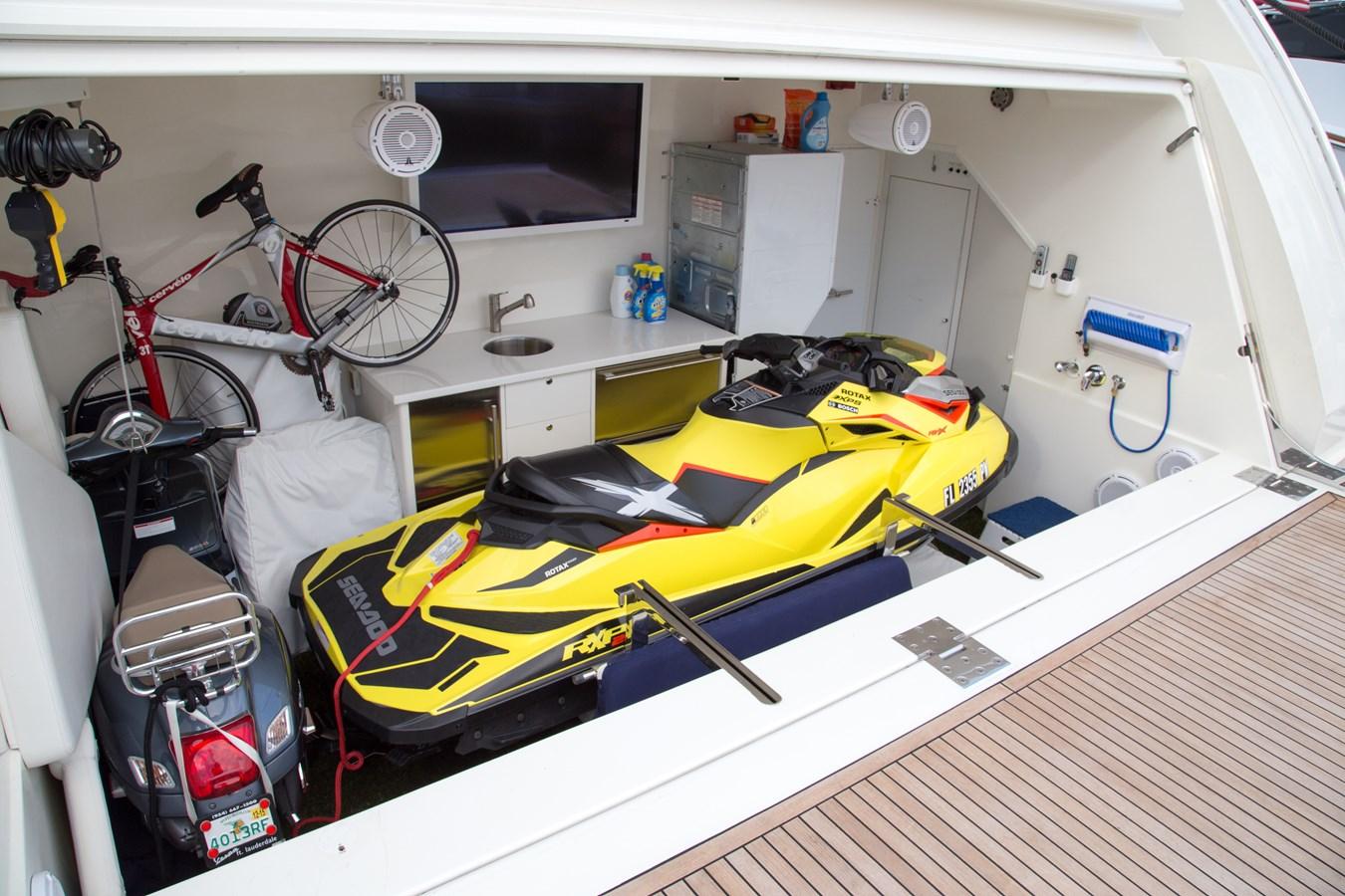 Garage and Beach Club 2003 FERRETTI YACHTS Custom Flybridge Motor Yacht 2710375