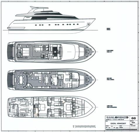 Layout 2006 SANLORENZO SL 88 Motor Yacht 2766523