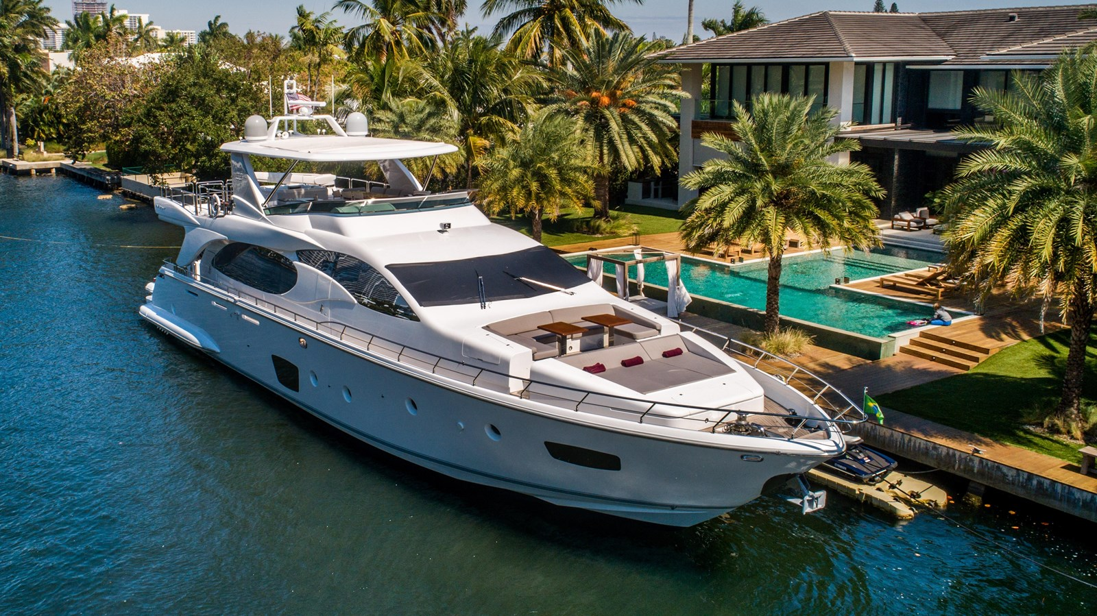 Blue yacht for sale