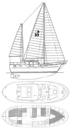 nauticat_33_drawing 1980 NAUTICAT  Motorsailor 2820258