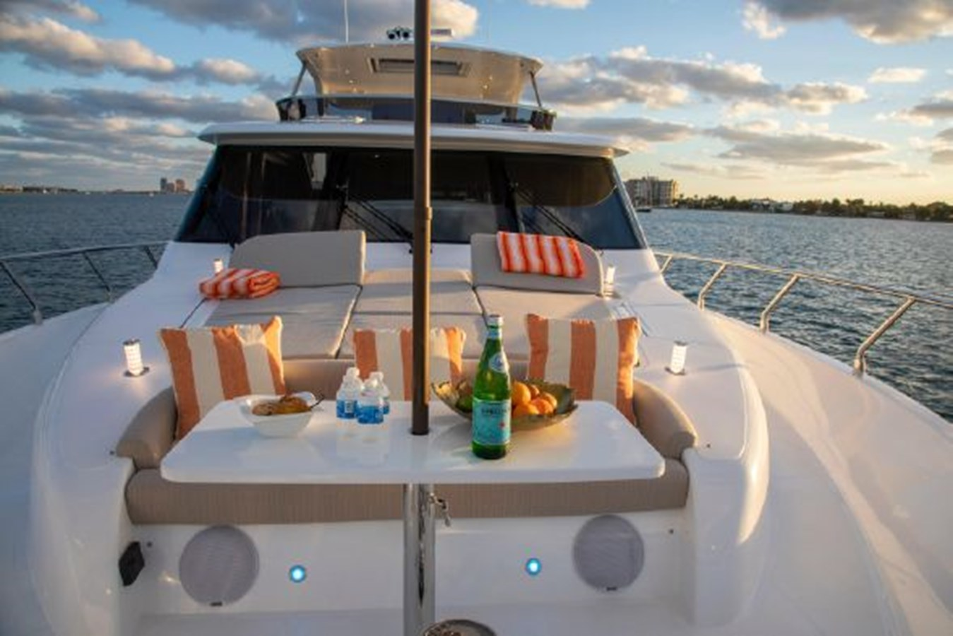 Foredeck Entertainment Area with Stereo and Pop-up Lighting 2020 REGENCY P65 Motor Yacht 2833179
