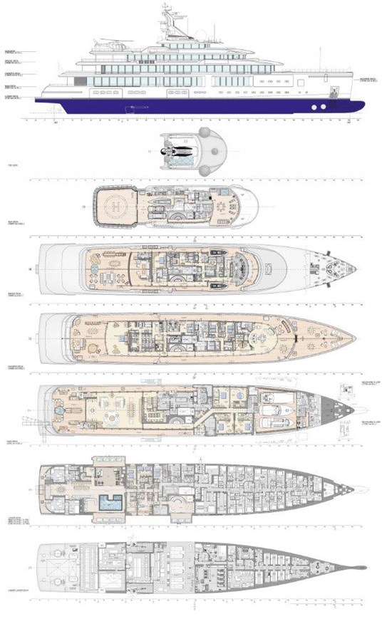 General Arrangement Plan 2020 BENETTI Displacement Motor Yacht Motor Yacht 2913321