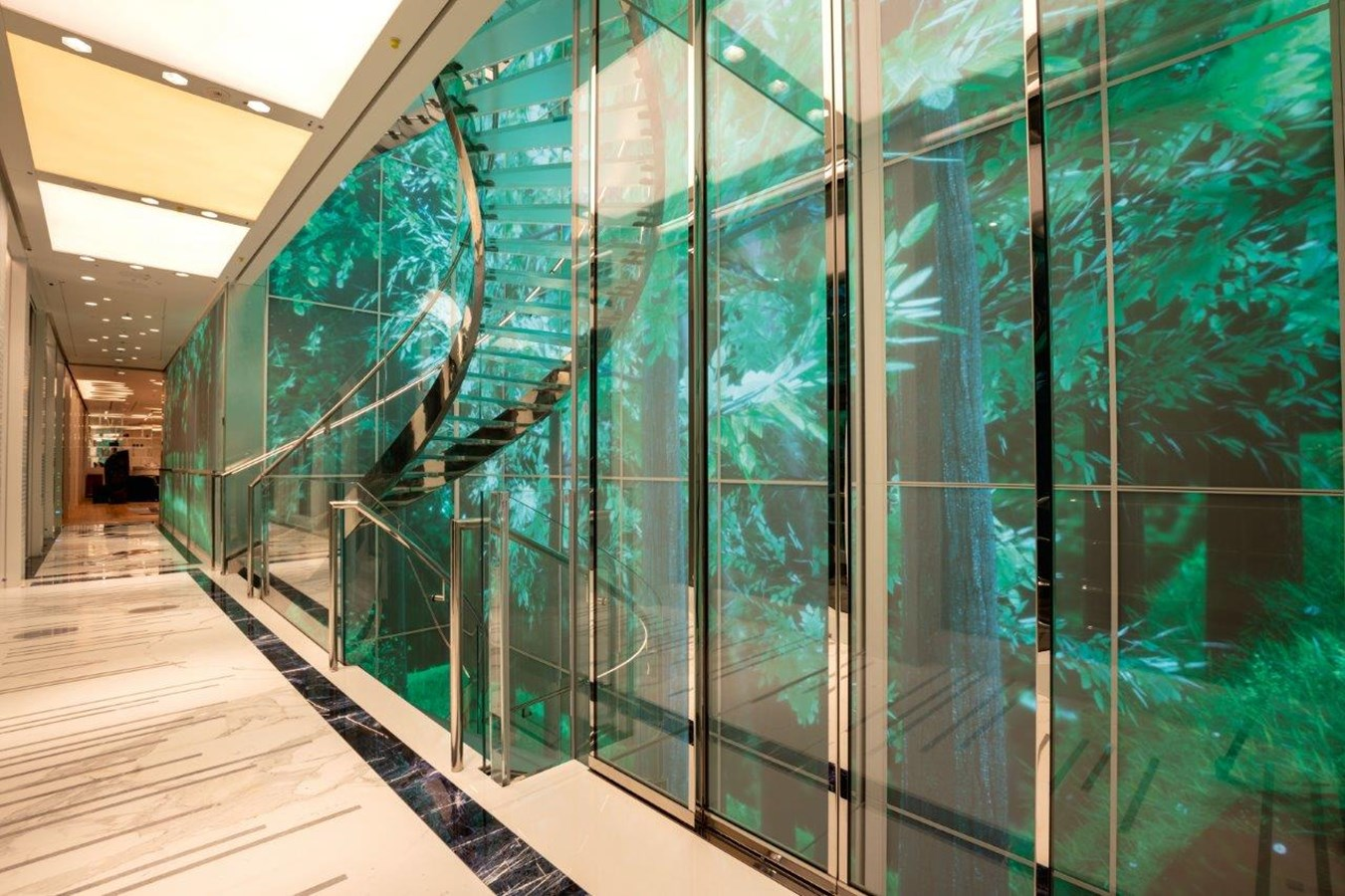 Main Staircase and 18m High Interactive Foyer Panels, Elevator Adjacent  2020 BENETTI Displacement Motor Yacht Motor Yacht 2918037