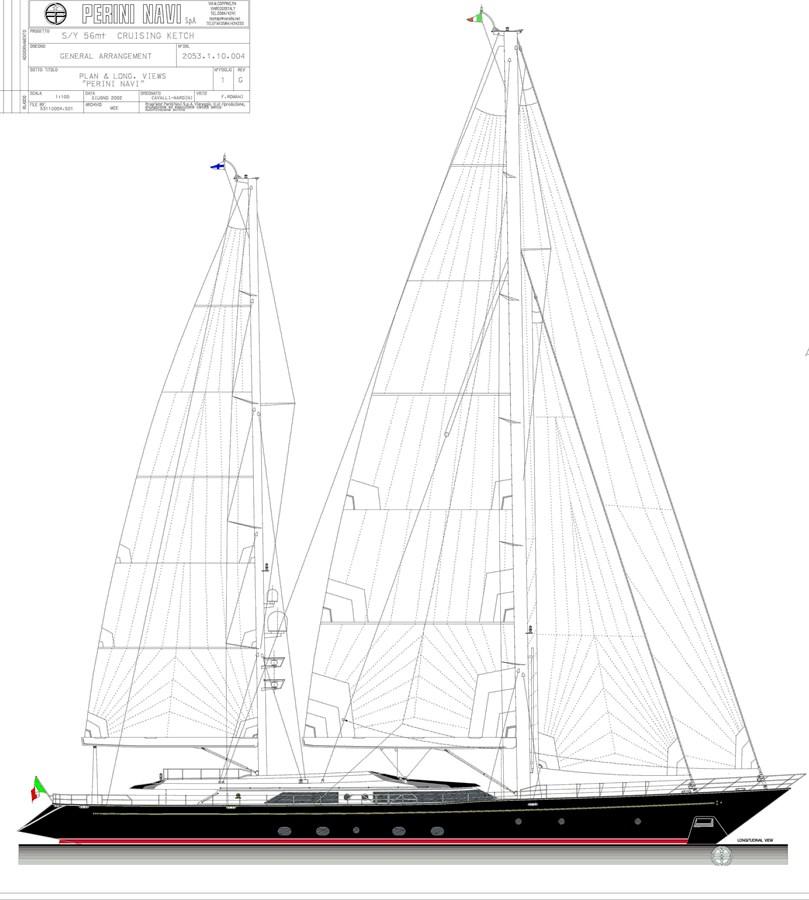 zenji sail plan 2004 PERINI NAVI  Cruising Ketch 2941563