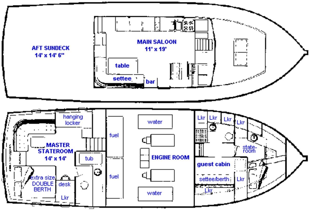 48 GB Layout 1974 GRAND BANKS  Trawler 2952159