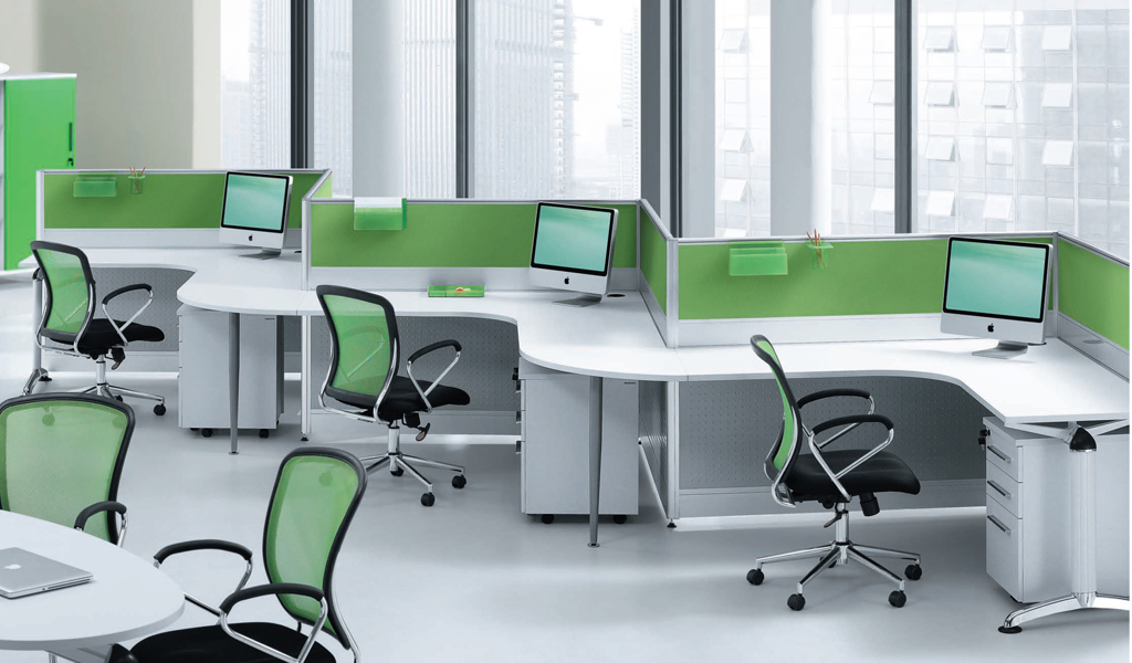 Vibrant Smart Wave Shaped Workstation Cluster