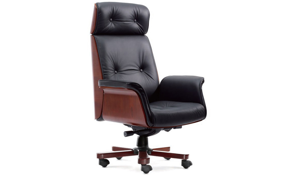 office chair in leather u0026 wood