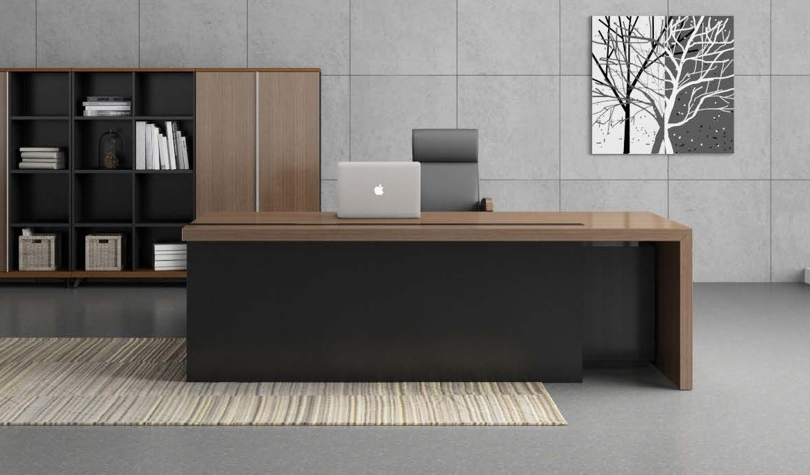 Contemporary office table in walnut charcoal gray finish for Table design for office