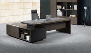 'Larry' Office Table In Wood & Leather
