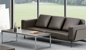 'Larry' Plush Three Seater Office Sofa In Leather