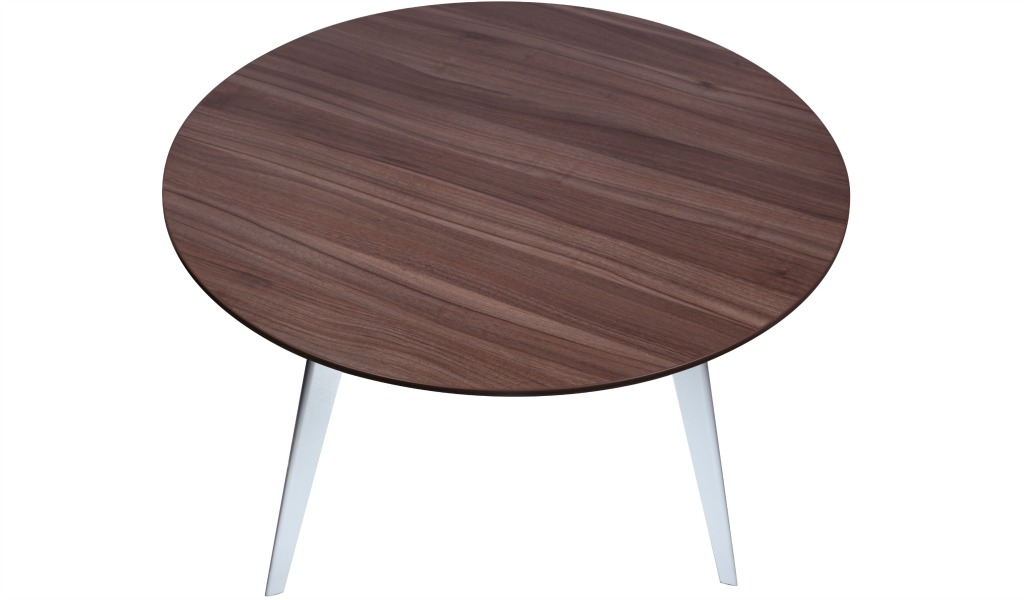 'Spark' Round Meeting Table In Walnut Laminate