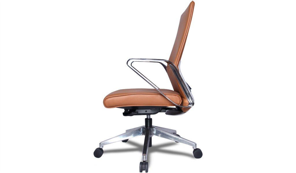 'Hero' Medium Back Office Chair In Tan Leather