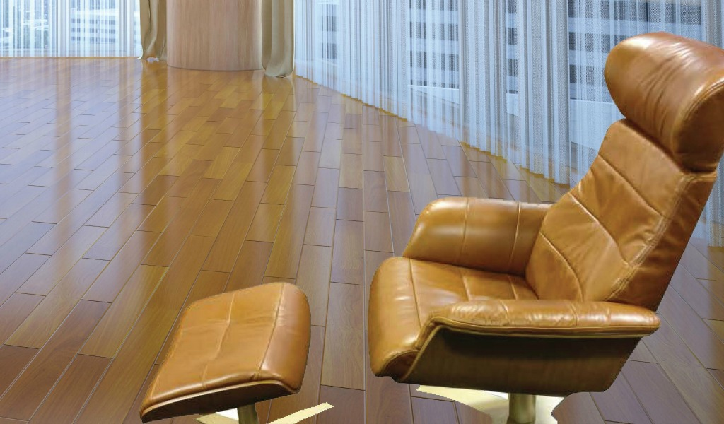 Reclining Lounge Chair & Ottoman In Tan Leather