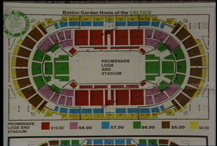 Description: Boston Garden Seating Plan Showing Ticket Prices From $4 To  $10 For Celtics Games. Team Photos From 1956 1957, 1964 1965, 1972 1973.