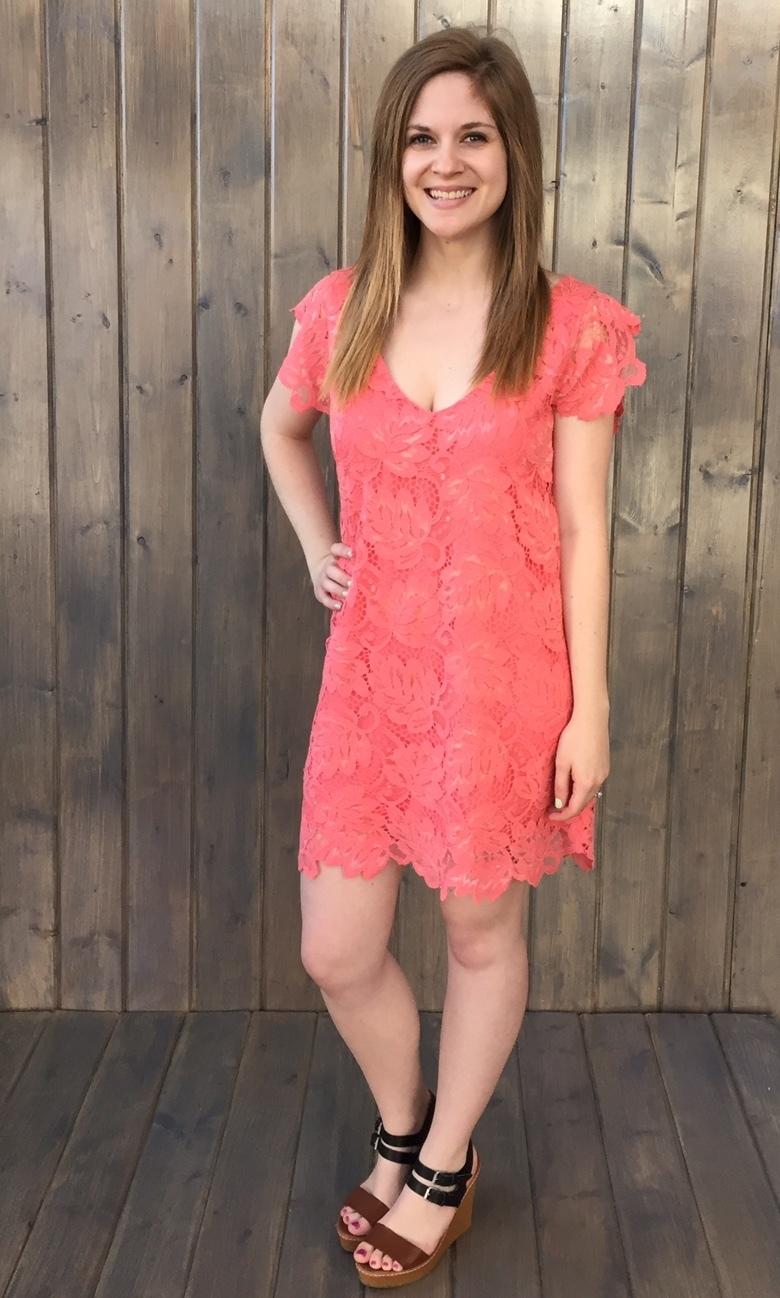 Jacqueline Lace V Neck Dress