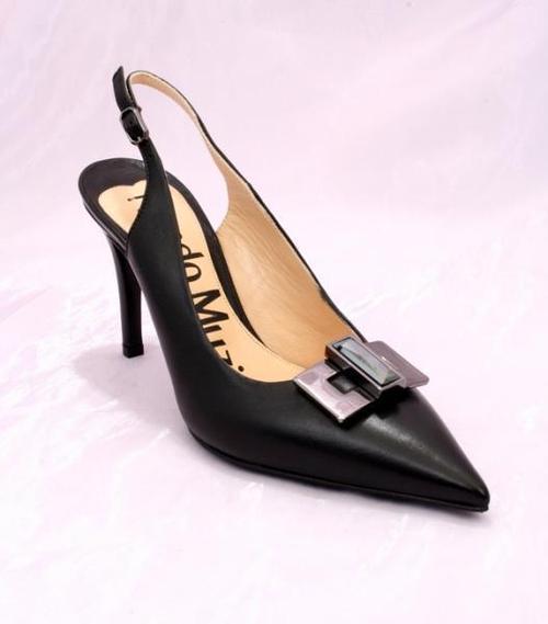 Black Leather Slingback Pointy Pumps