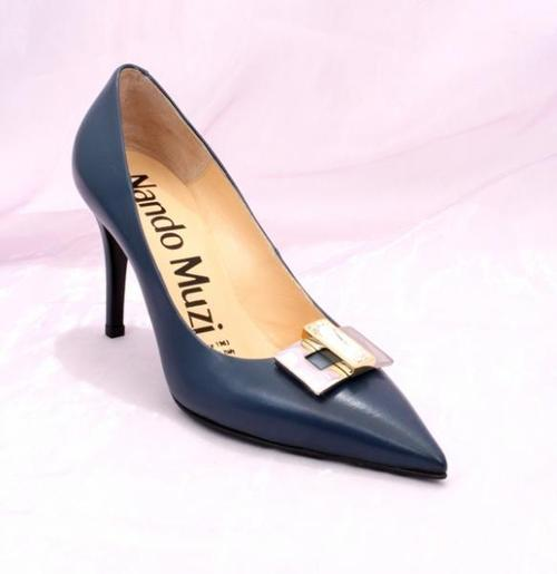 Blue Leather Pointy Pumps