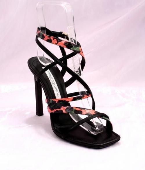Black/Snakeskin Leather Sandals
