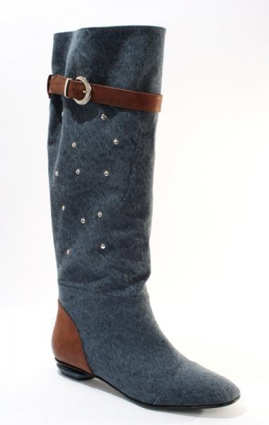 Blue Denim Summer Metallic Studs Boots