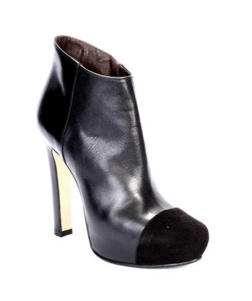 Black Leather / Suede Ankle Boots