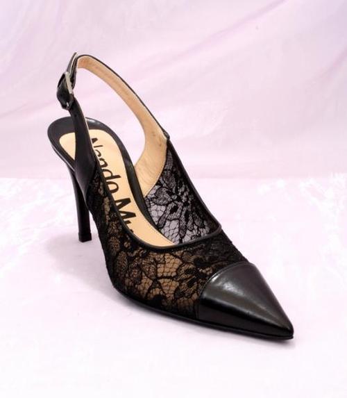 Black Lace / Leather Slingback Pumps