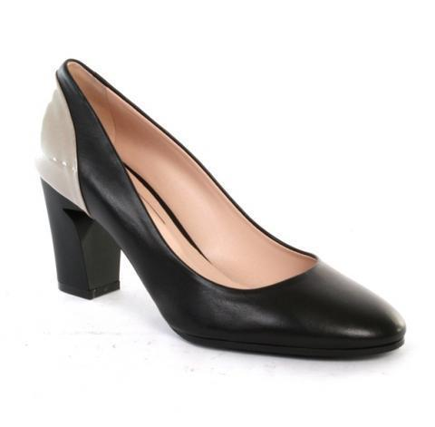 Black / Ivory Leather heel pumps