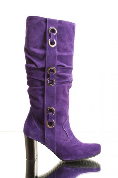 Hot Purple Suede Slouchy Boots