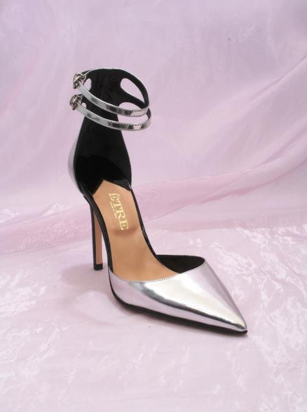 Silver Leather Ankle Straps Pointy Toe Pumps