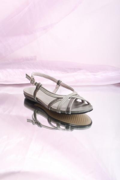 Press Snake Print Leather Sandal