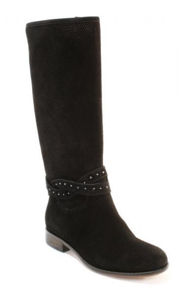 Black Perforated Suede Summer Boots