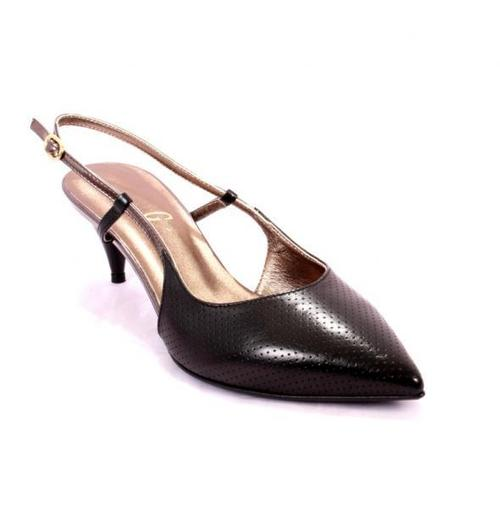Black Perforated Leather Pointy Sandals