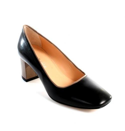 Black / Taupe Leather Square Toe Pumps