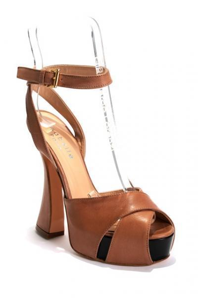 Beige Leather Ankle Strap Platform Sandal