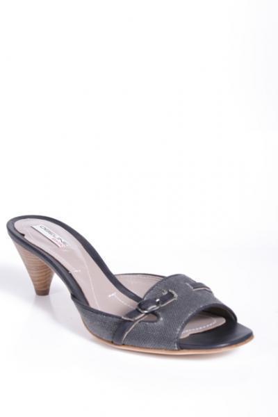 Gray Linen Slides Sandals