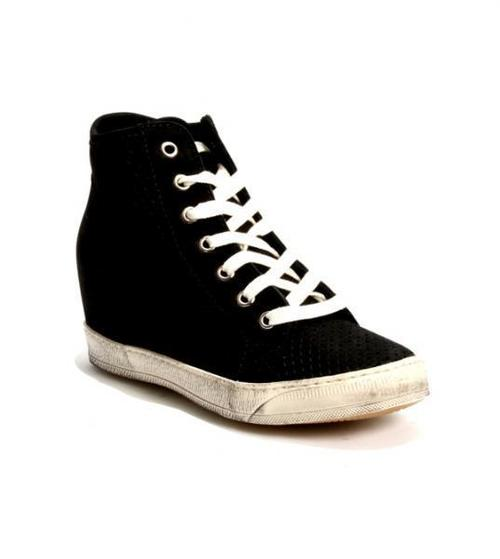 Black Perforated Nubuck Sneakers / Boot