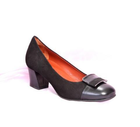 Black Suede / Leather Buckle Pumps