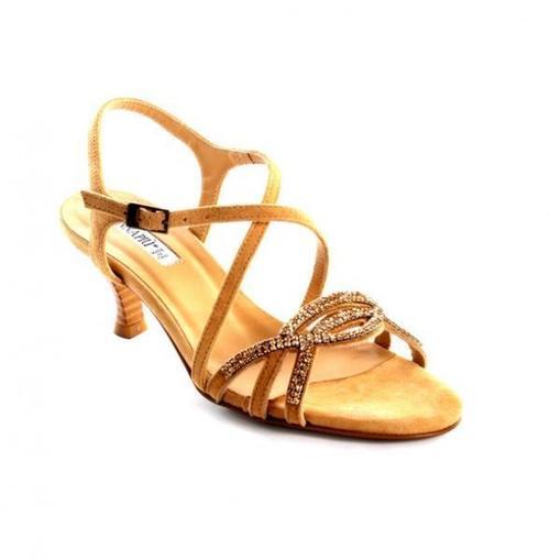 Beige Suede Swarovski Crystals Sandals
