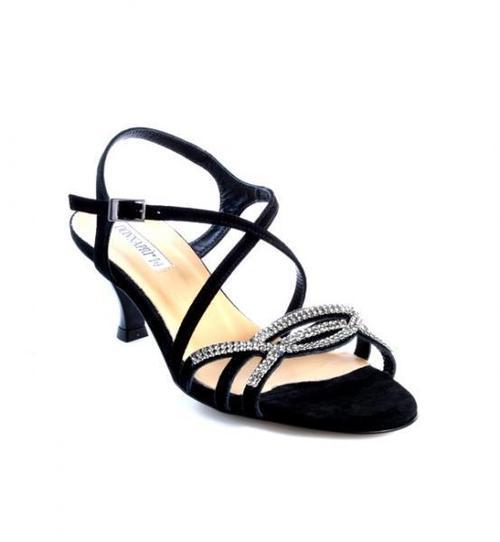 Black Suede Swarovski Crystals Sandals