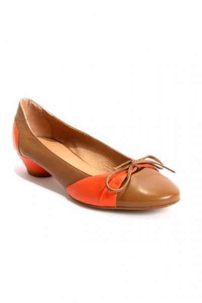 Brown / Orange Insert Bow Leather Pumps