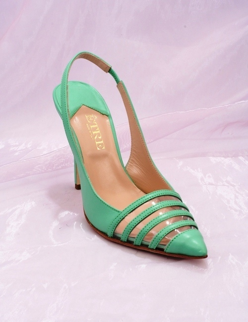 Green Leather Slingback Stiletto Heels Pointy Toe Sandals